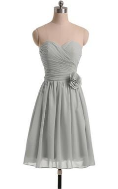 Sweetheart A-line Short Chiffon Dress With Flower