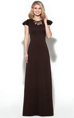 Cap-sleeve Floor-length Mother of the Bride Dress