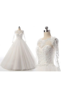 Ball Gown Long Sleeve Tulle Lace Dress With Beading Illusion