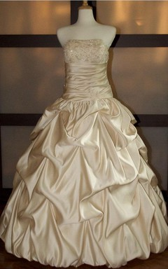 Strapless Lace-Up Back Satin Wedding Dress With Sequins And Ruching