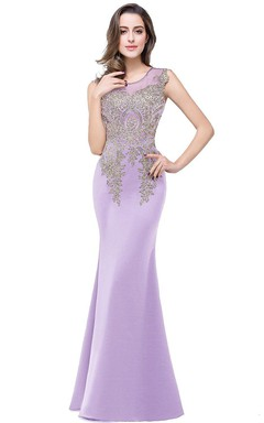 Sleeveless Scoop Neck Mermaid Dress with Lace