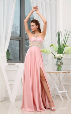 Adorable Strapless Front-Split Dress With Beaded Top