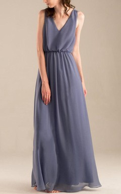 Strapped V-neck Chiffon Dress With Draping&Criss cross