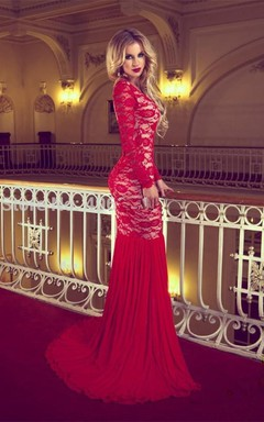 Sexy Red Long Sleeve Lace 2016 Prom Dresses Mermaid Long