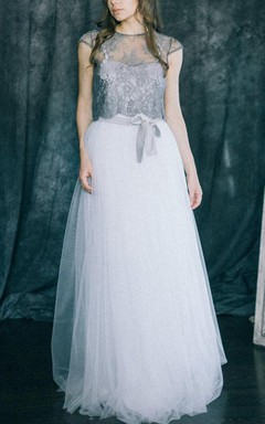 Wedding Lotus Two Piece Light Grey White Lace Soft Tulle Colored Non Traditional Modern Bohemian Bridal Gown Open Back Top Skirt Dress