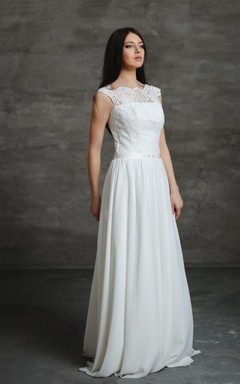 Bateau Neck A-Line Wedding Dress With Lace Top and Chiffon Skirt