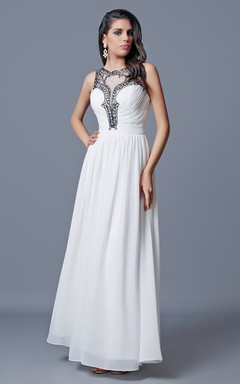 Jewel Neckline Pleated A-line Long Chiffon Dress