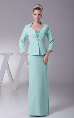 Spaghetti-Strap Sheath Floor-Length Dress with Bolero