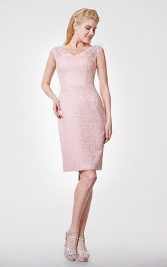 Illusion Cap-sleeved Sheath Allover Lace Knee Length Dress