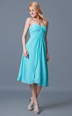 Sleeveless Sweetheart Ruched Tea-length Chiffon Dress