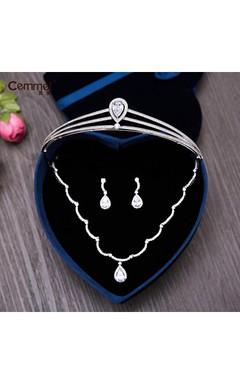 Korean Bride Mosaic Crown Necklace Three - Piece Set Of Wedding Dress Accessories