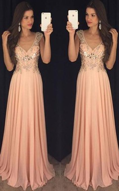Newest Chiffon A-line V-neck Prom Dress 2016 Crystals Cap Sleeve