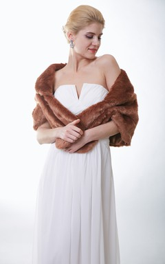 Dramatic Brown Faux Fur Wedding Wrap