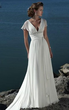 A-line Princess V-neck Short Sleeves Beading Sweep Brush Train Chiffon Beach Wedding Dress