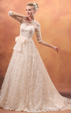 Gossamery Bowed Gown With Lace Appliques And Soft Tulle