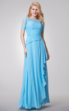 Bateau Neckline Long Chiffon Dress With Lace Top