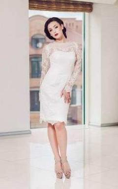 Lace Jewel-Neck Illusion Long Sleeve Short Wedding Dress