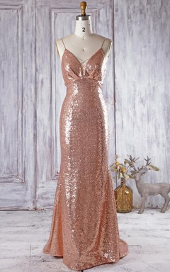 Long Spaghetti Strapped V-neck Backless Dress With Sequins