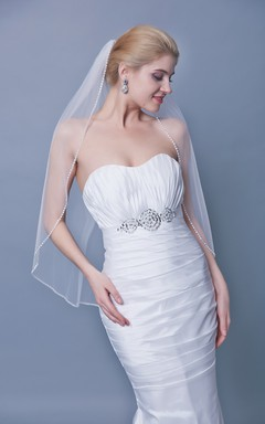 Trim Beaded One Tier Mid Length Veil