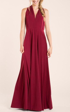 Short Sleeveless Wine Red Jersey&Satin Dress