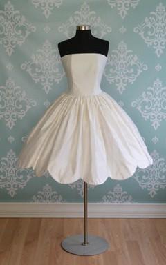 Strapless Short Taffeta A-Line Wedding Dress With Scalloped Hem