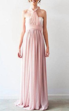 Pleated Floor-Length Chiffon Dress With Bow