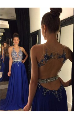 Glamorous Royal Blue Lace Appliques 2016 Prom Dress Beadings Chiffon A-line