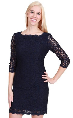 3/4 Sleeved Short Lace Sheath Dress With Illusion