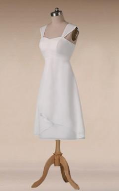 Straps Empire Waist Sheath Tea-Length Chiffon Wedding Dress