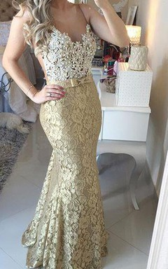 Modern Lace Appliques Mermaid 2016 Prom Dress Straps Sweep Train Bowknot