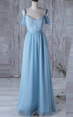 Floor-length Off-the-shoulder Chiffon&Lace Dress