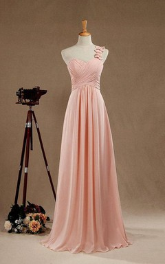 2016 Blush One-shoulder Bridesmaid Dress