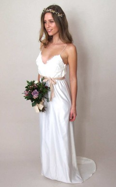 A-Line Spaghetti Straps Lace Wedding Dress