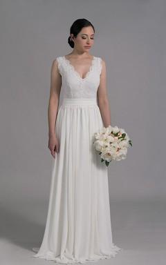 Deep-V Neck Sleeveless Long A-Line Wedding Dress With Chiffon Skirt