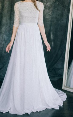 Floor-Length Chiffon Satin Weddig Dress