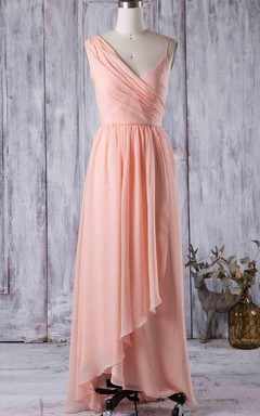 Floor-length Asymmetrical Strapped V-neck Chiffon Dress With Ruffles