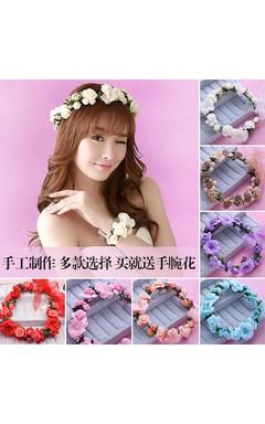 Bride Wreath Headdress Hair Ornaments Korean Sea Bridesmaid Headdress Hair Hoop Wrist Flower Marriage With