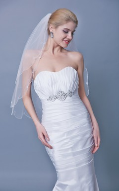 Two Tier Beaded Trim Mid Veil
