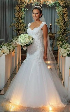 Modern Tulle Lace Appliques Mermaid Wedding Dress 2016 Sweep Train