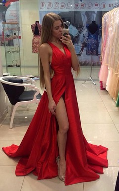 Sexy Red V-neck Long Prom Dress 2016 Sleeveless Front Split