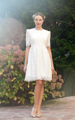 Jewel Neck Half Sleeve A-Line Knee-Length Lace Wedding Dress