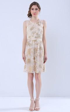 Printed Keyhole Back Sleeveless Short Dress