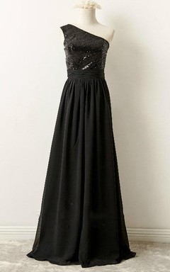 Long One-shoulder Chiffon Dress With Sequins