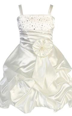 Sleeveless A-line Ruffled Dress With Beadings