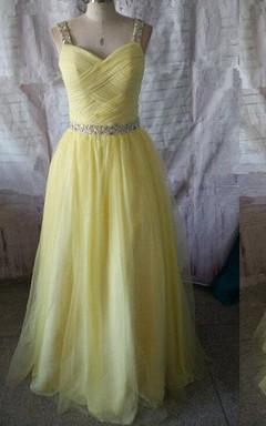 Floor-length A-line Criss Cross Tulle Dress With Beaded Waistline
