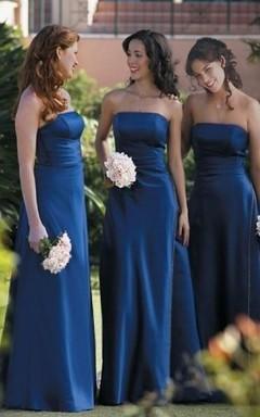 A-line Strapless Ruffles Sleeveless Floor-length Satin Bridesmaid Dresses