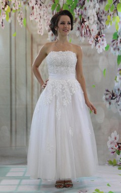 1950S Tea-Length Beaded Tulle Wedding Dress With Appliques