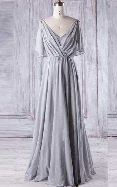 A-line Floor-length V-neck Chiffon Dress With Sequins&Ruffles