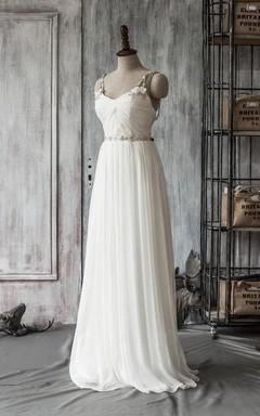 Spaghetti Strap Long A-Line Chiffon Wedding Dress With Crystal Beaded Sash