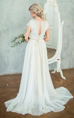 High Neck Chiffon Satin Embroidered Button Zipper Wedding Dress